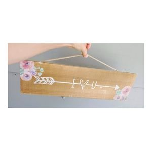 I Love You Painted Wooden Sign with Rope Hanger